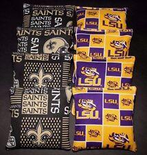 New Orleans Saints & Lsu Tigers 8 Aca Regulation Cornhole Bags Game Toss Bags
