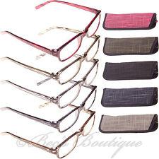 A rayas gafas de lectura y Estuche +1 +1.5 Para Hombre Para Damas Negro Gris Marrón Rosado