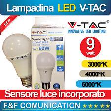 LAMPADA LAMPADINA LED CON SENSORE LUCE CREPUSCOLARE GIARDINO V-TAC 9W AUTOMATICA