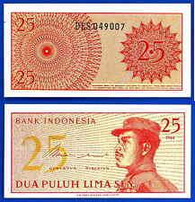 Indonesia 25 Sen 1964 UNC Asia Military Free Shipping Worldwide