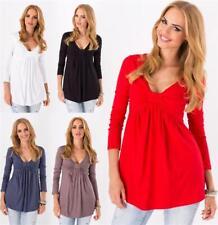 Longshirt weit geschnitten V-Ausschnitt Top 8 Farben Gr. 36 38 40 42 44 46, 8549