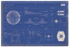 Star wars imperial fleet blueprint maxi mur affiche Nouvelle-Laminé disponible