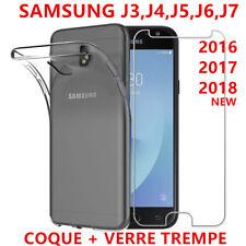 LOT POUR SAMSUNG J3/J5/J6/J7 2018 2017 2016 CASE COQUE TPU + VITRE VERRE TREMPE
