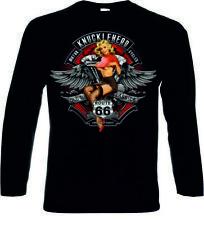 manga larga / Camiseta de negra HD MOTO chopper&oldschoolmotivknuckle EEUU ROUTE