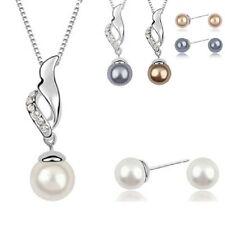 Perles Set Mariée Mariage de Bijoux Strass Collier Boucles D'Oreilles 4 Couleurs