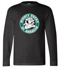 Mighty Ducks Anaheim NHL Hockey League Logo Long Sleeve Black T-shirt Size S-3XL