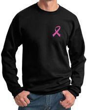Mens Breast Cancer Awareness Sweatshirt Pink Ribbon Pocket Print Sweat Shirt