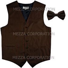 New Men's Tuxedo Vest Waistcoat Vertical Stripes Bowtie prom wedding party Brown