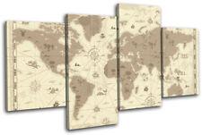 world Retro brown Maps Flags MULTI CANVAS WALL ART Picture Print VA