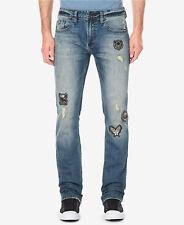 Men's Buffalo Davie Bitton Slim Straight Stretch Skull Patch Distressed Jeans