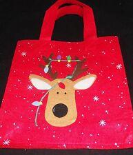 "Medium Collectable Christmas Sack  Raindeer  10"" x 10"" x 3""  Red"