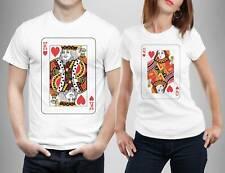 King Queen Cards Matching T Shirts Men Women Best Couple Gift