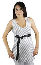 Stripped Gray Maternity Ribbon Blouse Womens Pregnancy Top