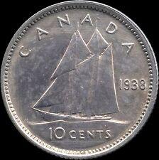 1938 Canada Silver 10 Cent Coin (2.33 Grams .800 Silver)