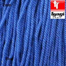 2mm Thick Twisted filettatura blu cotone naturale stringa FUNE CORDA Artigianato cucire fai da te