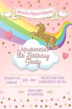 Personalised Girl/Adult Unicorn Birthday Party Invites inc envelopes UNI1
