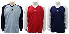 Maglia da calcio da uomo Adidas blu rossa celeste sport t-shirt manica lunga
