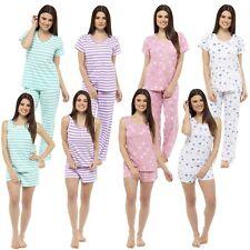 Ladies Womens Pyjamas Pj Set Shorts 100% Cool Cotton Summer Stripe Heart 8 - 22