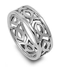 Men Women Sterling Silver Plain Christian Fish Band Ring 9mm / Free Gift Box