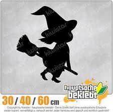 Hexe auf Besen Halloween  Grusel Horror chf0897  in 3 Größen Heckscheibe