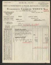 "PARIS (XI°) BALANCE / PESEE / INSTRUMENTS MESURE COMPTAGE ""Ets. Ch. TESTUT"" 1932"