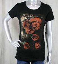 True Religion women's Basic ROSE BLOCK printed black t-shirt WGHA183ER1