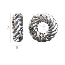 Argent sterling 925 rond torsadé Circl Bead Caps 6 mm choisir taille de paquet de menu