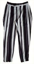 ZARA Basic Woman BLACK GREY IVORY Striped Print Satin Pants Trousers XS S £29.99