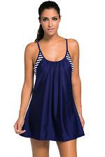 Ladies Fashion Navy Flowing Swim Dress Layered 1pc Tankini Top