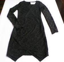 Spitzen Kleid Gr.32 36 H&M NEU schwarz Wickel-Look weich damen party festlich
