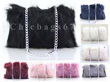 Ladies Cross body faux Fur Messenger Evening Shoulder Bag Handbag Purse