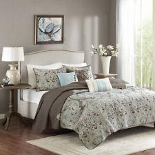 Beautiful Elegant Chic Brown Light Aqua Blue Ivory Grey Scroll Soft Quilt Set