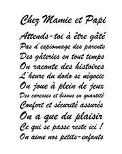 """Sticker Mural Texte """"Chez Mamie et Papi,..."""", 45x30cm à 100x65cm (TEX014)"""