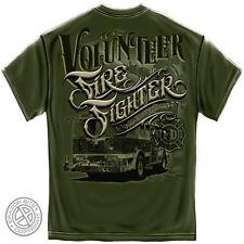 Volunteer FIREFIGHTER T Shirt Fire Rescue Fire Truck Fire Dept S-3XL MENS GREEN