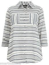 Ladies New Evans Stripe Cotton Collared Shirt Blouse Tunic Top Plus Size 14-28