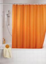 Rideau de douche orange tissu 180x200 cm avec anneaux cloison Bain