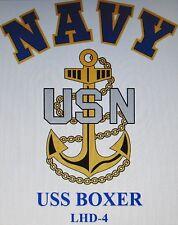 USS BOXER  LHD-4* AMPHIBIOUS ASSAULT SHIP* U.S NAVY W/ ANCHOR* SHIRT