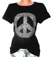 RICK CARDONA Damen Shirt schwarz GR. 34 - 44 Nieten Peace T-Shirt NEU - 149