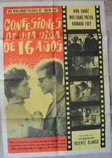 Spanish Movie Poster Original Confesiones De Una Nina De 16 Anos year old Girl
