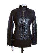 Ladies MILA Dark Blue Biker Style Designer Retro Real Lambskin Leather Jacket