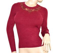MAGLIETTA rossa donna maglione sottogiacca maglia ricamo sweater Pullover G12