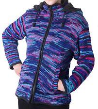 Damen Wolljacke Hippie Goa Strick mit Fleecefutter und Zipfelkapuze