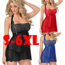 Women Sexy Plus Size Garter Babydoll Chemise Halter Intimate Lingerie Dress Sets