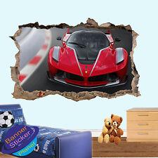 Rosso Ferrari Auto Da Corsa 3D Adesivo Parete rotte Room Decor Decalcomania Murale ZH0