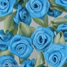 25 x ROSE BUDS SATIN RIBBON FLOWERS ROSEBUDS WEDDING CARD MAKING SCRAP BOOKING