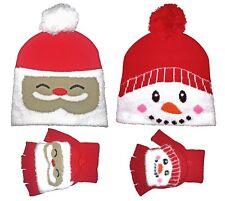 Kids Red Novelty Christmas Pom Pom Bobble Hat and Fingerless Mittens Gloves Set