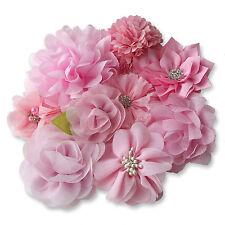LIGHT PINK Fabric Flowers CRAFT Glue/Sew On Embellishment Applique Garment Hair