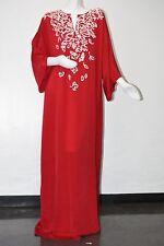 New 17 Resort Oscar de la Renta Cranberry Red Embroidery Caftan Gown Dress M