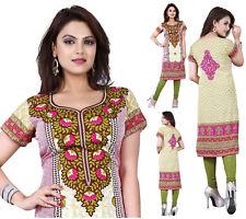 UK STOCK Indian Pakistani Long Printed Dress Kurta Top Kurti Shirt Kameez 116D