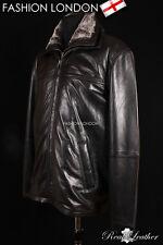 WINTER MAN Black Men's Fur Collar Lambskin Simple Casual Leather Jacket Coat